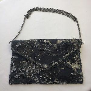 3AM Forever Gray Velvet Sequin Envelope Clutch
